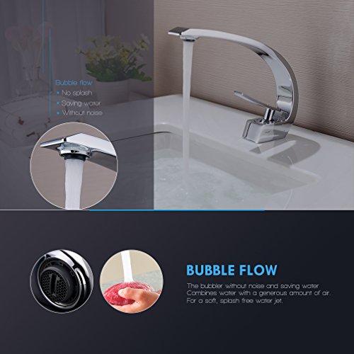 BONADE® Wasserfall Einhebel-Waschtischarmaturen Mischbatterie Wasserhahn Bad Armatur für Badezimmer Waschbecken, 59 Kupfer, Chrom - 5