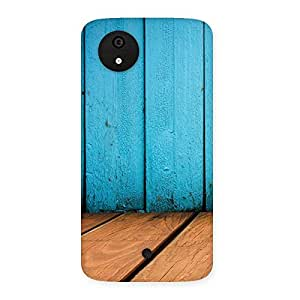 Delighted Wood Cyan Back Case Cover for Micromax Canvas A1