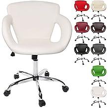 TRESKO® Design Taburete giratorio Silla de oficina, reposabrazos y mecanismo basculante, en 8 colores diferentes (Blanco)