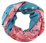 TigerTie - Loop Schal Halstuch in rosa lila weissgrau schwarz petrol gemustert - Motiv Einhorn-Sterne - Größe 160 x 50 cm