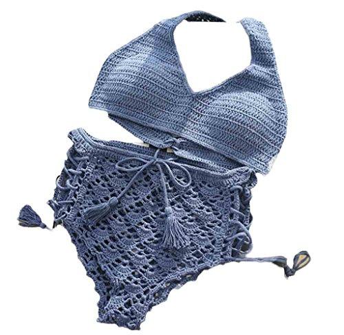 Zwei Stück Bikini Anzug Set, HARRYSTORE Frauen böhmischen handgefertigten Strick Quasten BH Bademode Beachwear Hohe Taille Badeanzug (Meidum) (Anzüge Trennt Damen)