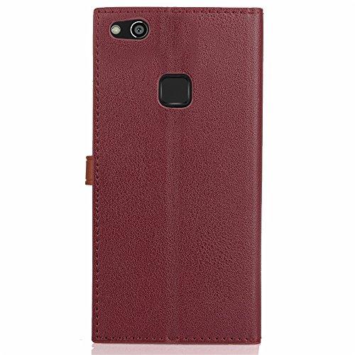 Business Style Mixed Farben Slim Design PU Ledertasche Brieftasche Stand Case [Shockproof] mit Niet Echtes Leder Gürtelschnalle & Kickstand & Card Slots für Huawei P10 Lite ( Color : Wine ) Wine