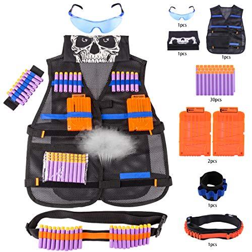 GODNECE Kinder Tactical Weste für Nerf, Klassisch Taktische Weste Jacke Set mit 30 Darts, 2Stk.Clip Magazin, Brille,Dart Armbänded,Gesichtsmaske, Taktik Riemen
