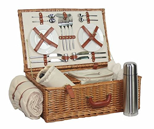 Deluxe Equipada 4 persona tradicional Picnic Basket