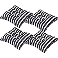 "AGDLLYD Set of 4 Seat Cushion Pad with Ties for Dining Chair Super Soft Home Office Garden Chair Pad with Straps 40x 40 cm (16"" x 16"" Inches), Stripe (black)"