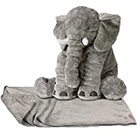 Anterrier 2 IN 1 Stuffed Elephant Plush Pillow and Warm Cover for Sleeping and Children and Kids Gift /Present Grey(with Soft Blanket)