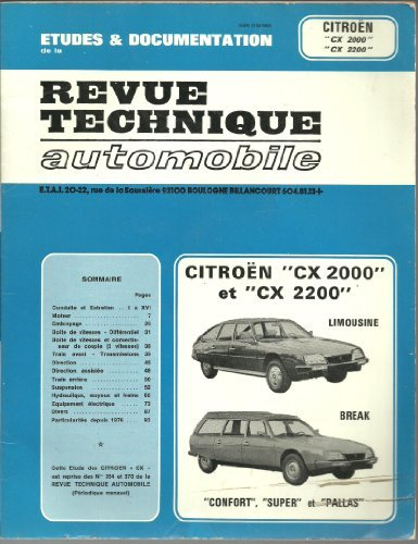 REVUE TECHNIQUE AUTOMOBILE N° 354370 : CITROEN CX 2000 2200