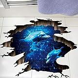 Mddjj 3D Dunkelblau Traum Delfin Bodenaufkleber Badezimmer Wohnzimmer Boden Dekoration Wandbild Wandaufkleber Wohnkultur Aufkleber Tapete