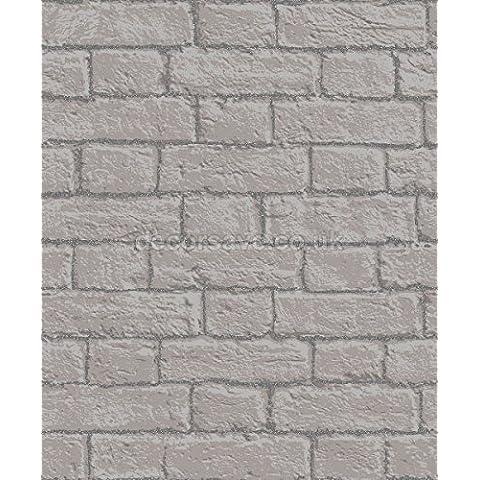 Coloroll, Carta da parati, motivo: mattoni, colore: grigio, M1058 sintetica, con mortaio da parete
