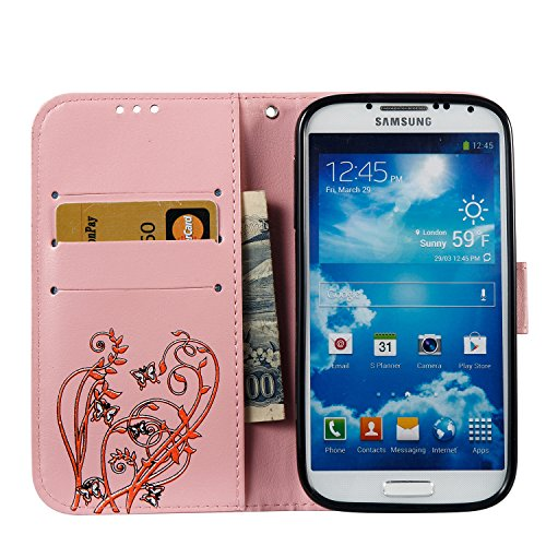 Hülle für Samsung Galaxy S4, Tasche für Samsung Galaxy S4, Case Cover für Samsung Galaxy S4, ISAKEN Blume Schmetterling Muster Folio PU Leder Flip Cover Brieftasche Geldbörse Wallet Case Ledertasche H Orange Blume Pink