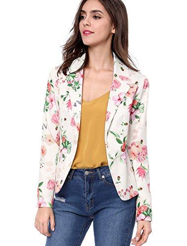 Allegra K Frauen Langarm Revers Sommer Geblümt Tailliert Elegant Jersey Allover Blumen Blazer Jacke Weiß S (EU 36)
