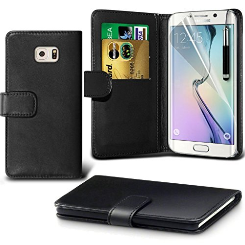 Samsung Galaxy S6 edge+ Étui Housse + cas [galaxie S6 bord Plus] Phone Holder Universal Support de voiture tableau de bord et pare-brise pour iPhone yi -Tronixs Wallet + ( Black )