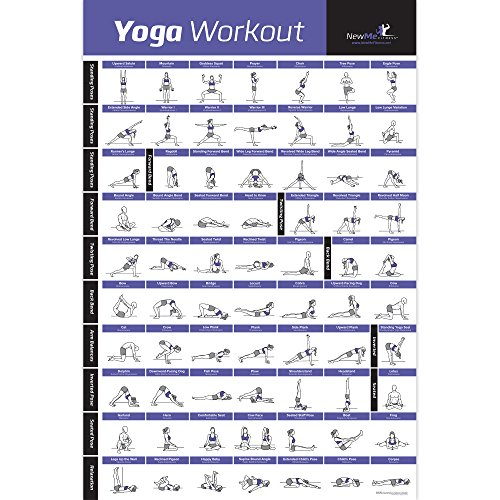 Yoga Pose Poster laminiert - Premium Lehr Beginner \'s Diagramm für Sequenzen & Flow - 70 Essential Posen - Sanskrit & Englisch Namen - einfach, View ES & Do It. - 50,8 x 76,2 cm