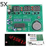 Bluelover 5 X DIY 6 Digital Led Reloj Electrónico Kit 9V-12V At89C2051