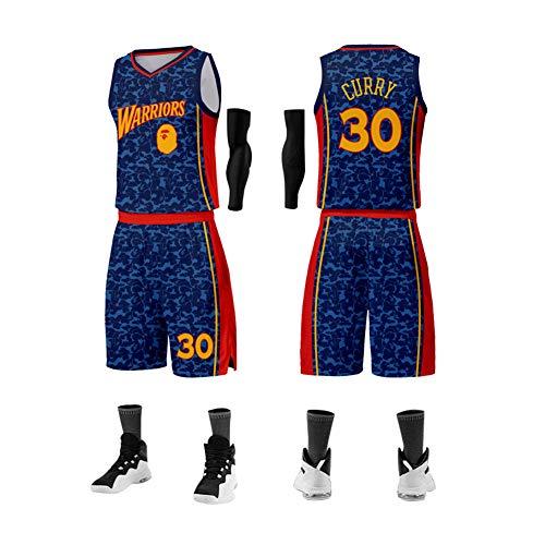 Herren Basketball Trikot Golden State Warriors #30 Stephen Curry Unisex Training Jersey Jugend Basketball Uniformen Custom Basketball Team Anzüge ärmellos Style Sportswear L Königsblau