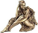 Carlo Milano Dekofigur: Sitzende Frauen-Statuette, Kunstharz-Guss in Bronzeoptik (Frauenskulpturen)