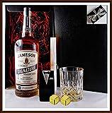 Geschenk No.2 Jameson Signature 1 Liter Irischer Whiskey +Glas +2 Edelstahl Kühlsteine goldf. Smoking, kostenloser Versand