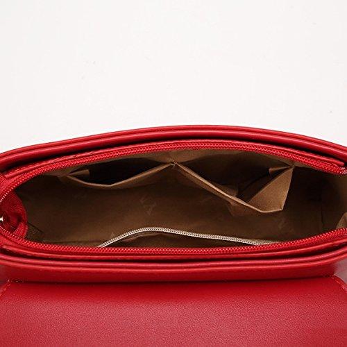 Weibliche kleine quadratische paket einfache Schulter messenger bag Rot