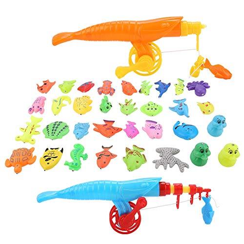 Zerodis 39 Teile Magnetic Fishing Toy Set Baby Badespielzeug Wasserdichte Badewanne Pool Schwimm Angeln Spielset Lernen Bildung Spielzeug Angeln Spiel mit Fisch Rod Net Set für Kinder