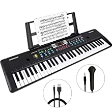 WOSTOO Electronic Keyboard Piano 61 Key, Portable Piano Keyboard with Microphone,Music Stand, Power Supply Multifunction Digital Music Piano Keyboard for Kids/Adult