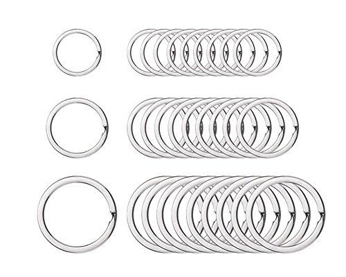 10Stück nickel Plated mit Schlüsselanhänger-Ring, mit Schlüsselanhänger, Silber-Edged Circular Schlüsselanhänger mit Clips für KFZ-Schlüssel-Kunst und Handwerk, silber, 35 mm