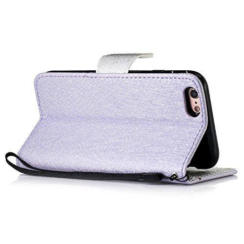 Slynmax Cover iPhone 6 4.7 iPhone 6s Custodia Flip Case Pelle PU Cuoio Morbida Libro Magnetico Portafoglio Wallet Modello di Posta Design di Lusso in Rose + 1* Stilo Stylus Penna Capacitiva Purple