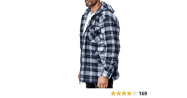 EGOMAXX Mens Thermal Shirt Transition Jacket Lumberjack Plaid Fleece Flannel