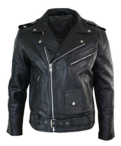 Veste de moto Brando motard cuir véritable peau de vache fermeture asymétrique classique homm