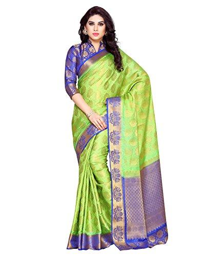 Mimosa By Kupinda Women\'s Art Silk Saree Kanchipuram Style (Latest Designer Sarees /Party wear sarees /New collection sarees) (4154-255-2D-LRL-RBLU) Color: Lime Green