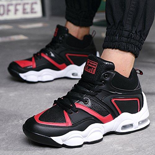 Chaussure de course sport basket-ball homme étudiant sneakers compensé printemps jeune noir rouge