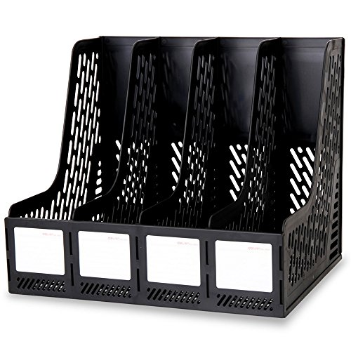 DRHYSFSA File Rack Office File Bar File Scaffale Scaffale Scrivania Quattro File Bar Carrello Ufficio 4 Porta Documenti a Scomparti Desktop Storage Rack (Colore : Nero)