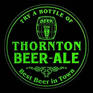 4x ccpn2263-g THORNTON Best Beer & Ale in Town Bar Pub 3D Coasters