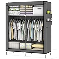 Intirilife Fabric Wardrobe 108x170x45 cm in MOUSE GREY - Lockable Folding Canvas Closet with Zipper, Side Pockets and Hanging Rail - Non-Woven Foldable Textile