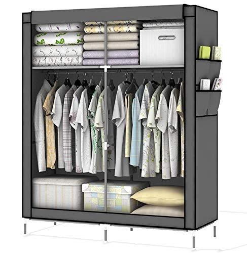 Intirilife - d'armoire pliable refermable DIY avec penderie et solutions de rangement étagère armoire à vêtements armoire en tissu commode casier dimension: 108 cm x 170 cm x 45 cm GRIS-PIERRE