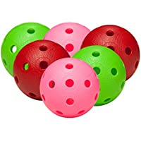 FAT PIPE Floorball / Unihockey Juego de 6 bolas - COLOR MIX, Matchball oficial