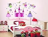ufengke® Cartoon Prinzessin Burg Schöne Elfe Engel und Das Einhorn DIY Wandsticker,Kinderzimmer Babyzimmer Entfernbare Wandtattoos Wandbilder