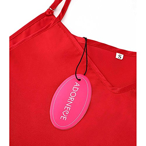ADORNEVE Damen Nachtkleid Straps Einfarbig Glatt Nachthemd Weinrot