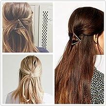 """Dealglad® 2× simple elegante triángulo de oro bañado en plata metal Pinza Clips de pelo Niñas Mujeres Headwear adornos accesorios para el pelo Plateado plata Talla:5cm/1.96"""""""
