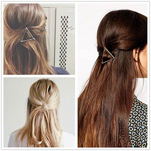 Dealglad® 2× semplice elegante triangolo in metallo placcato oro e argento clip di capelli per donne e ragazze cappello copricapo capelli accessori (Argento)