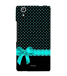 Black Pattern with Blue Bow 3D Hard Polycarbonate Designer Back Case Cover for Micromax Canvas Selfie 2 Q340