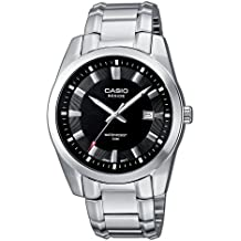 Casio BEM-116D-1AVEF - Reloj analógico de caballero de cuarzo con correa de acero inoxidable plateada - sumergible a 50 metros