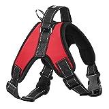 Pawaboo Hunderucksack Hundegeschirr, verstellbar Haustier Rücksack Brustgeschirr Satteltasche Hundebackpack Sicherheitsgeschirr mit Handgriff, für Outdoor, Wandern, M Größe, Rot