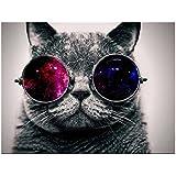 MagiDeal Decoración de Pared Lienzo HD Pintura de Arte Noframe Adornado Foto-gato Impresión Animal - 40x40cm