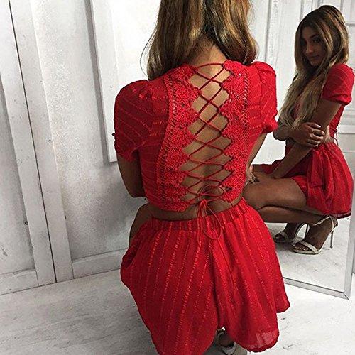 Vêtements LILICAT Womens Sexy Back Halter Bandage manches courtes Top Shirt Blouse Shorts Pant 2PCS Set Noir et Rouge S-XL red