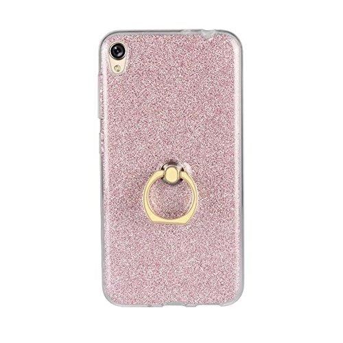 EKINHUI Case Cover Soft Flexible TPU Back Cover Case Shockproof Schutzhülle mit Bling Glitter Sparkles und Kickstand für Asus ZenFone 3 Go Live ZB501KL ( Color : Blue ) Pink