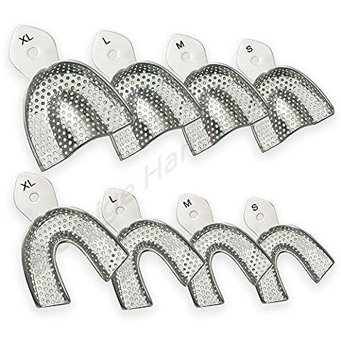 Impression Trays Dental Full Denture Perforated Set of 8 Upper & lower Prestige # 01612