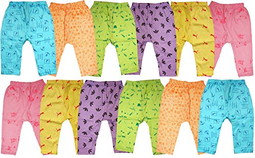 KIFAYATI BAZAR Baby Boy's and Baby Girl's Cotton Pyjama Combo Space for Diaper (Multicolour, 3-6 Months) - Pack of 12