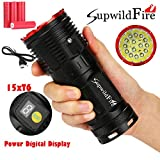 Sisit Supwildfire Taschenlampen Hohe Lumen 50000LM 15 x XM-L T6 LED Power & Modus Digitalanzeige Jagd Taschenlampe (rot)