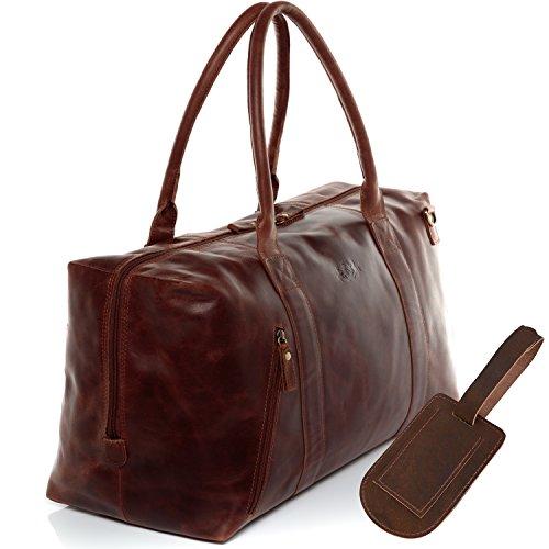 SID & VAIN Reisetasche mit Adressanhänger echt Leder Yale Zip groß Sporttasche Weekender Ledertasche braun