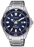 Citizen Promaster - Reloj Hombre Eco Drive Súper Titanio Diver's 200 Mt Esfera Azul BN0201-88L